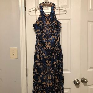 Navy blue and tan floral cocktail dress